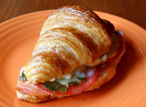 cheesy croissant sandwich