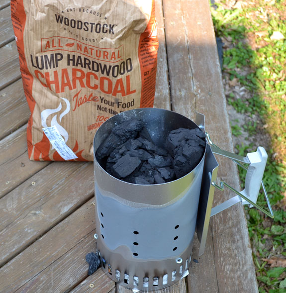 grilling with lump hardwood charcoal